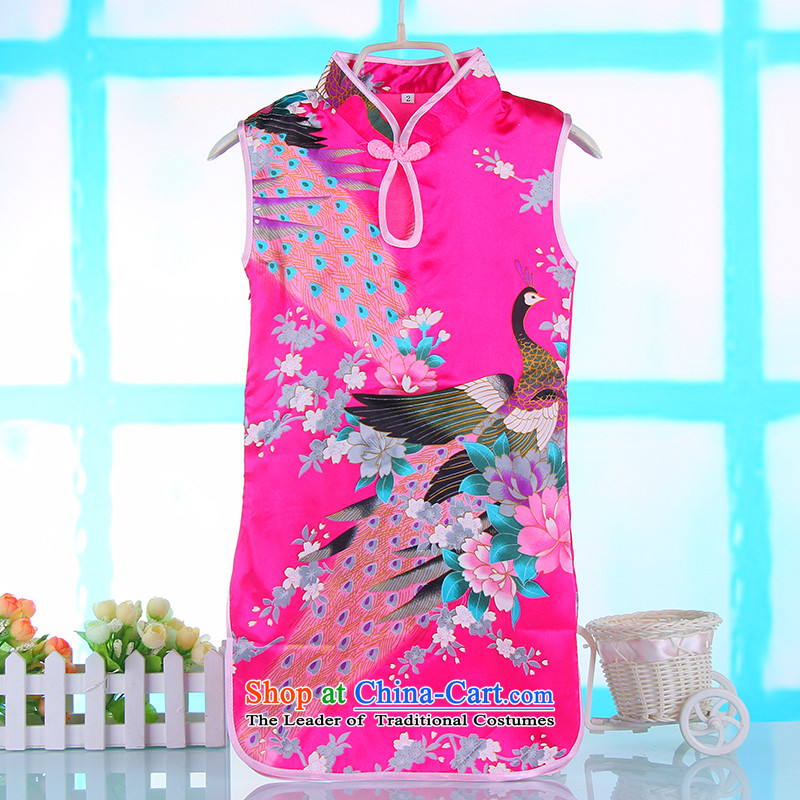 2015 Spring/Summer Children qipao girls Tang Gown skirt female baby girl pure cotton robe of red?110 Ki