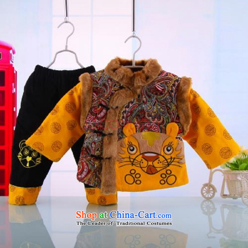 Hot Sales for 2014 Tang dynasty baby Birthday Boy New Year Boxed Kit Tang dynasty cotton coat whooping dress format5248 Yellow 100