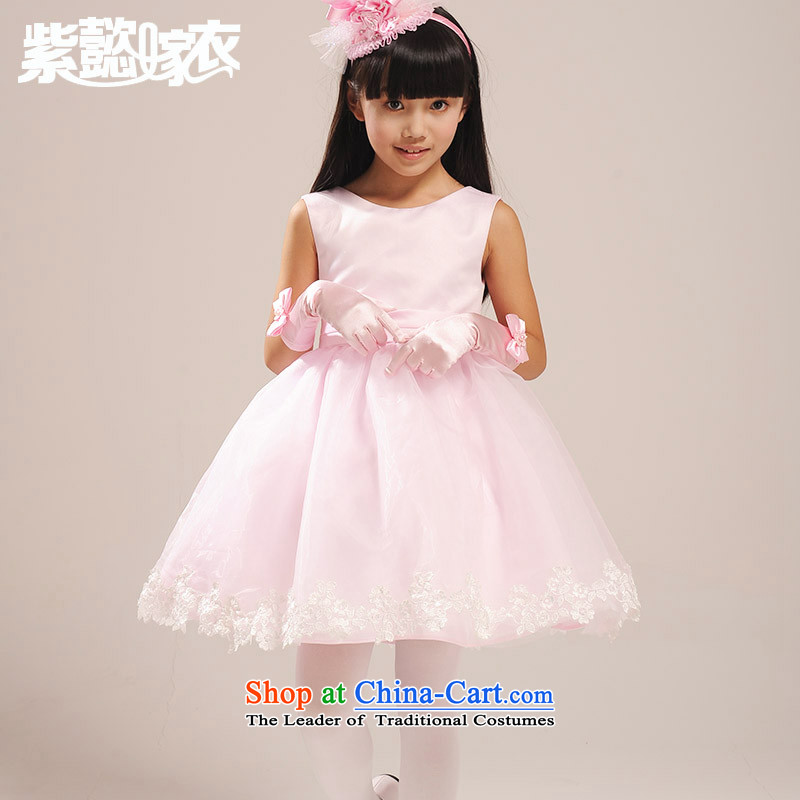 The first spring and summer wedding gown headquarters of children and of children's wear dresses female lace big bow tie bon bon skirt princess skirt Flower Girls will dress TZ0009 pink (single) 150cm(14 150-160cm) code