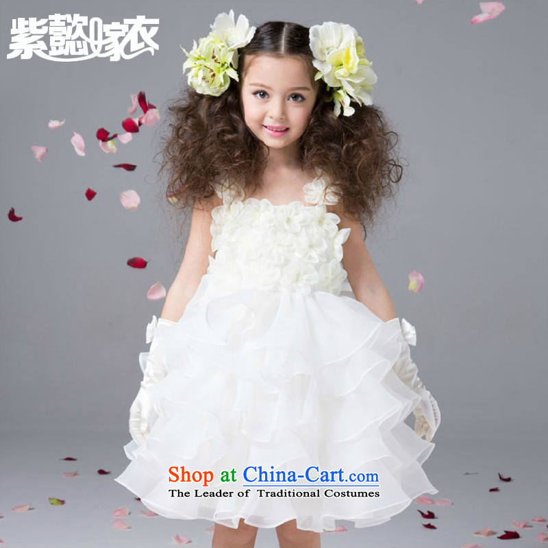 Purple wedding gown headquarters children princess skirt girls spring and summer imports of gauze sleeveless Flower Girls show dress bon bon apron skirt TM0001 White (Single Princess skirt) 110cm(4 100-110cm) code