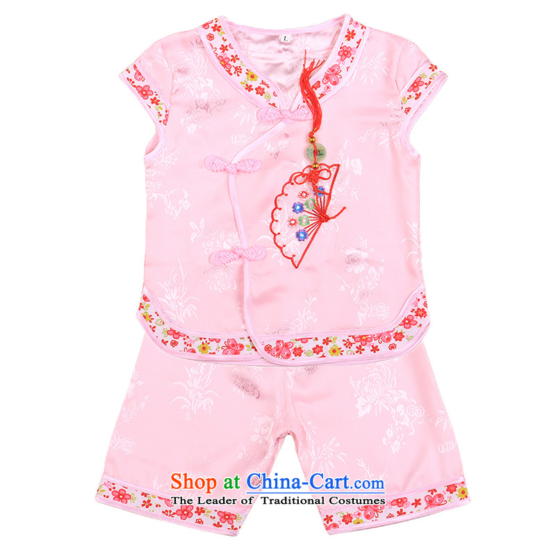 2015 new baby Tang Dynasty Package girls of early childhood short-sleeved shorts summer infant garment aged 1-2-3 4808 pink聽100
