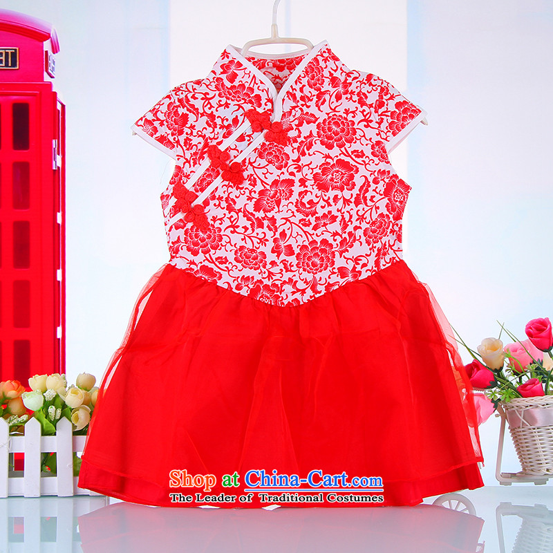 Children qipao girls Tang dynasty princess skirt 61 female babies dance performances to porcelain skirt 4451 Red120
