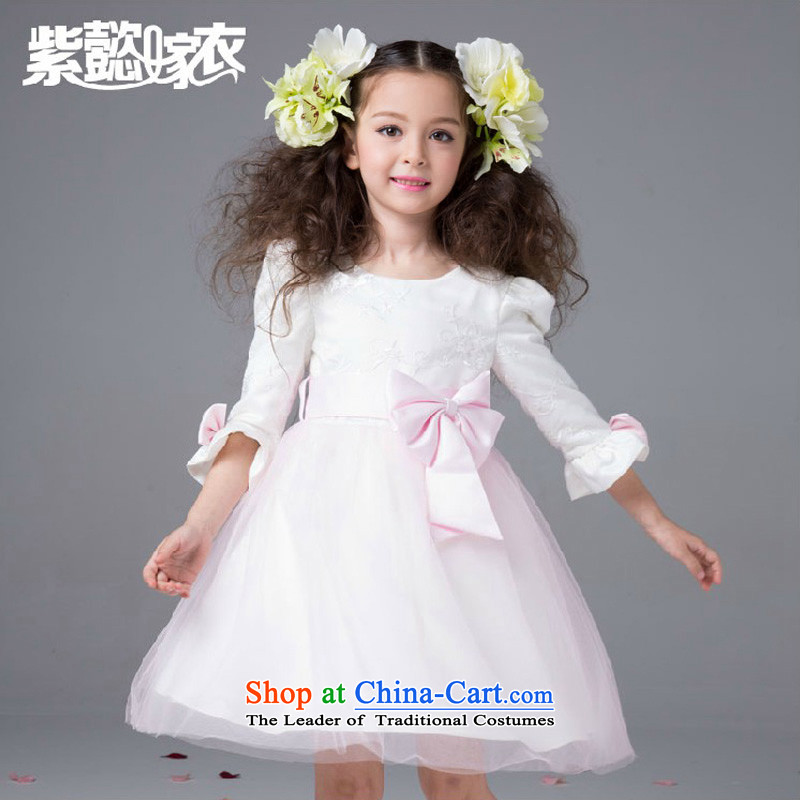 The first spring and summer wedding gown headquarters of children and of children's wear skirts bon bon female ballet pink wire-mesh long sleeves Flower Girls wedding dress will princess skirt TZ0177 pink (Single Princess skirt) 80cm(2 80-95cm) code