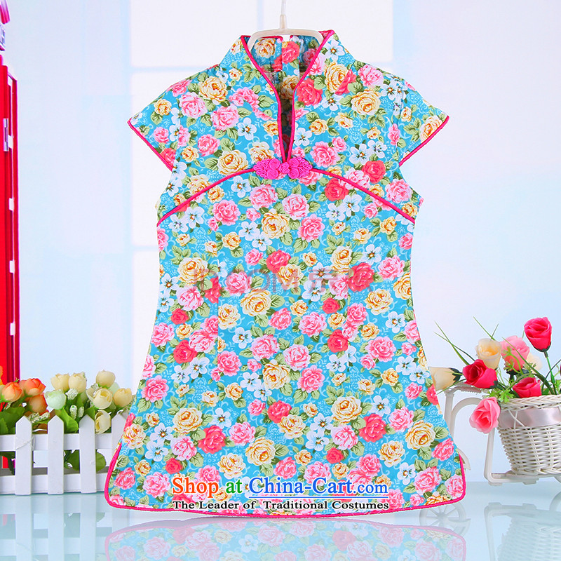 15 children cheongsam dress summer girls Tang dynasty CUHK child guzheng will pure cotton ethnic Chinese 4365 Blue120