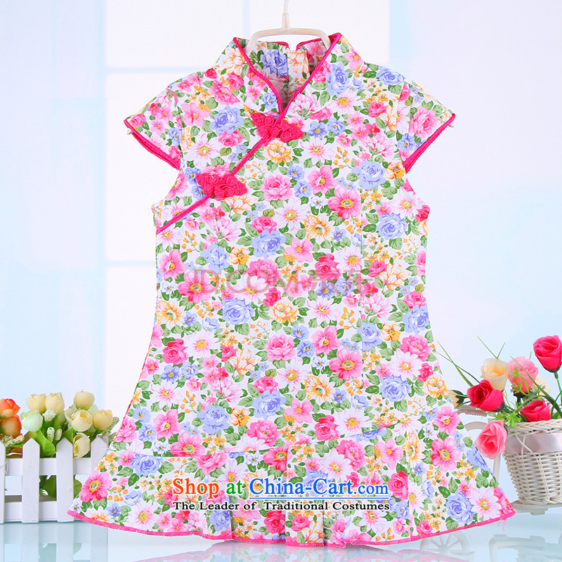 2015 Summer Children qipao pure cotton girls classical pieces skirts baby Tang dynasty festivals will dress 4360 pink 90