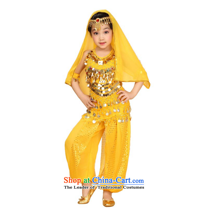 Adjustable leather case package children Indian dance wearing a children's dance show yellow M height 115-135cm recommendations about