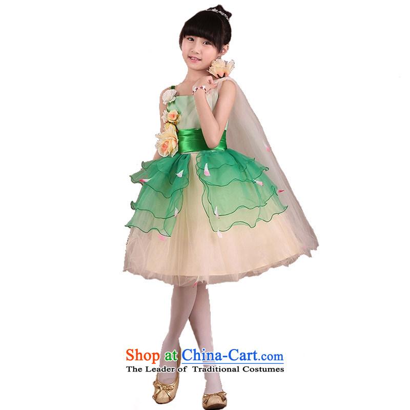 Adjustable leather case package children will children choir uniforms princess skirt girls wedding dress Flower Girls dress straps bon bon skirt green150cmtall 145-155cm recommendations
