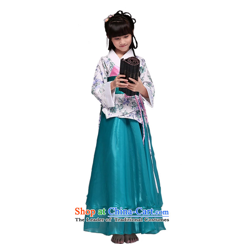 Adjustable leather case package children will start with the girl child classical Han-skirt guzheng stage costumes and green150cmtall 145-155cm recommendations