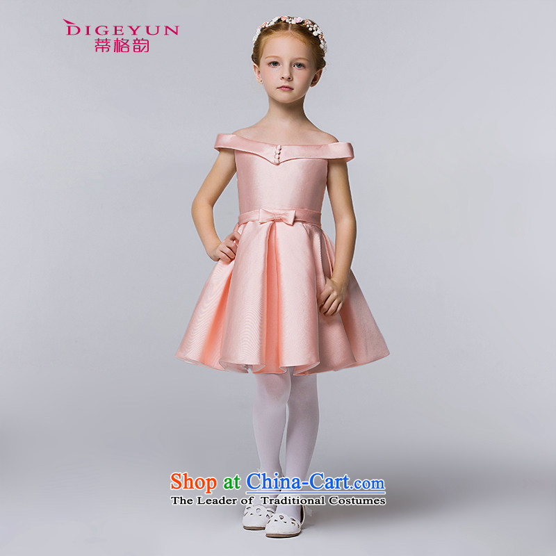 The following children dress Korean word irrepressible shoulder children dress skirt female baby princess bon bon skirt pink 150