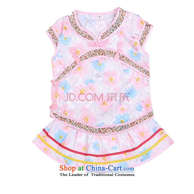 Tang Dynasty girls children early childhood cheongsam dress Princess Pearl service dress blue skirt聽100
