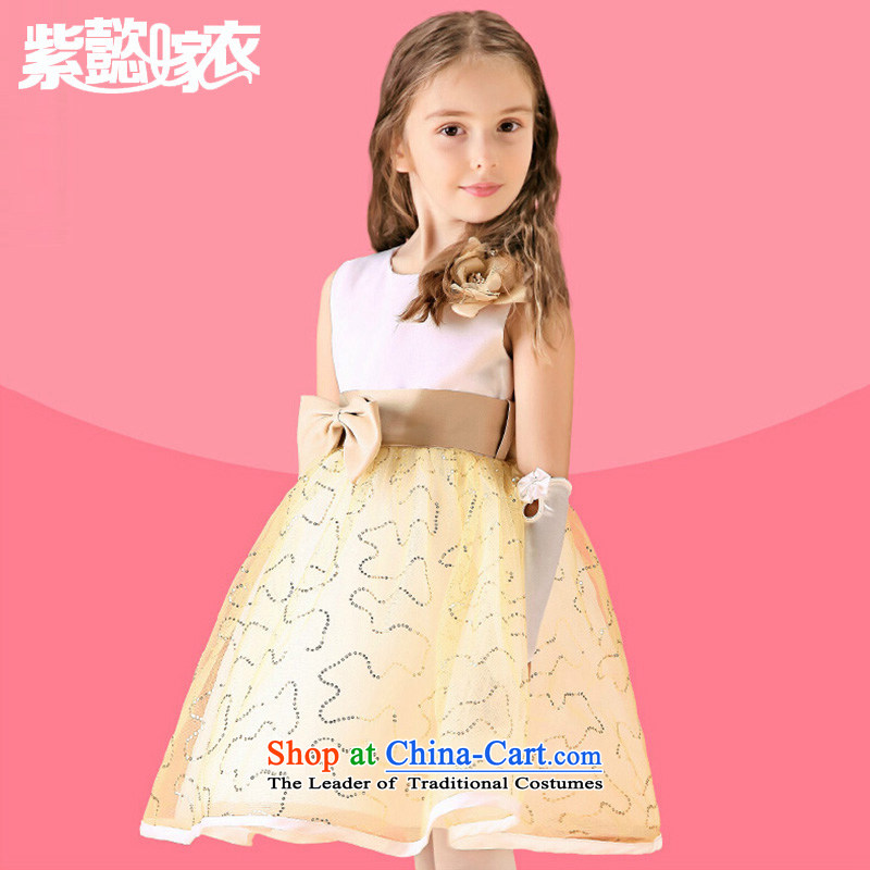 First headquarters wedding gown girls princess wedding dress new Children Summer lace Butterfly Festival sleeveless dresses tz0184 dress champagne color performance (single) 150cm(14 code 150-160cm) skirt