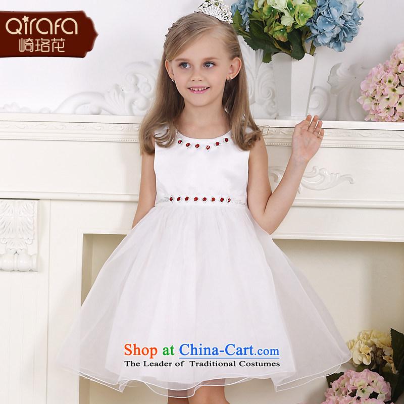 Kawasaki Judy flower QIRAFA girls dresses children princess skirt girls princess skirt summer girls dress Children Summer 5136 m white dresscode 130