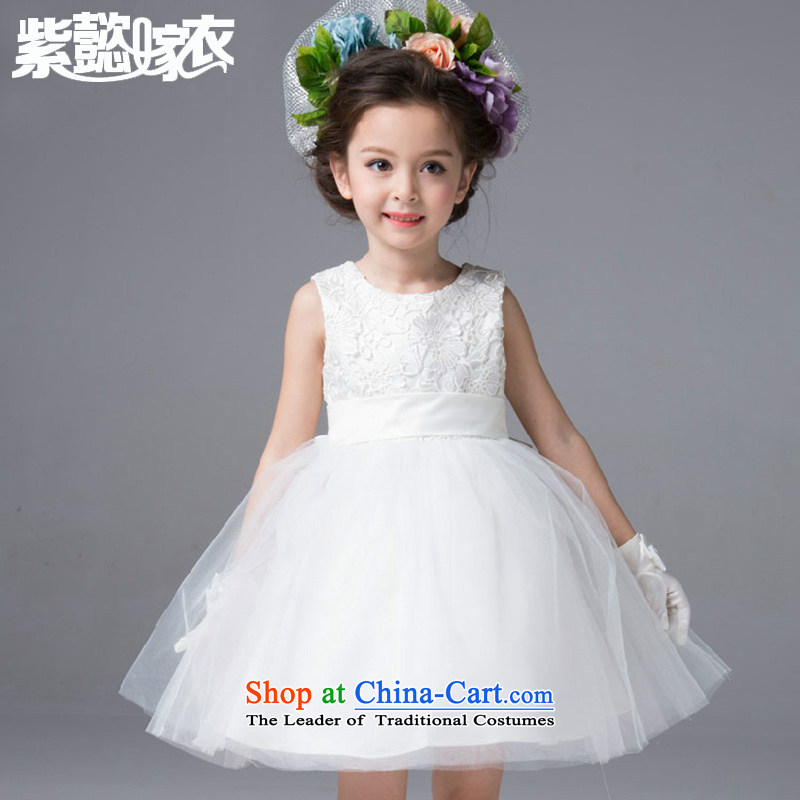 Purple wedding gown headquarters children wedding dress princess spring and summer girls wearing lace Butterfly Festival sleeveless bon bon skirt evening dress will TZ0199 White?_Single Princess skirt_ 150cm_14 150-160cm_ code