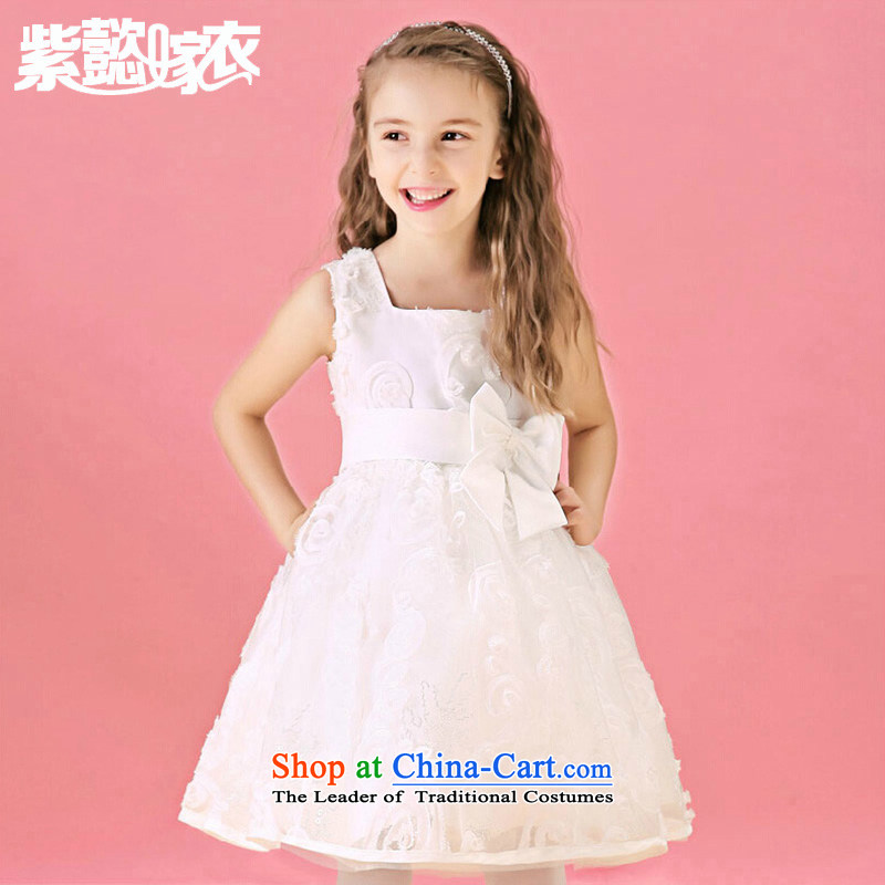 Purple wedding gown headquarters children princess skirt girls spring and summer dresses lace sleeveless bon bon skirt white dress TZ0201 will white (single) 130cm(10 code 130-140cm) skirt