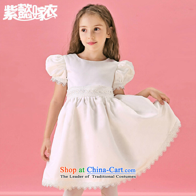 First headquarters wedding dress Snow White Dress upscale female children's wear dresses spring and summer lace imports of Flower Girls will TZ0204 White (single) 12 code (dress recommendations 140-150cm) Height
