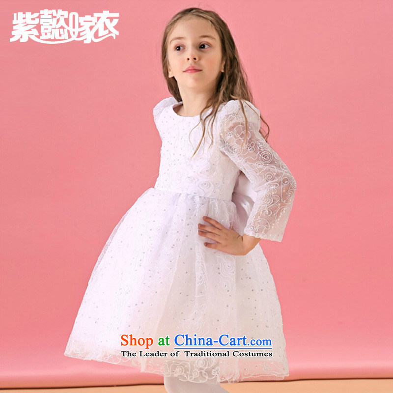 The first spring and summer wedding gown headquarters children will come on girls wearing chip lace cotton fabric snow white long-sleeved gown bon bon skirt TZ0206 White (single piece skirt) 14 yards (recommendation 150-160cm) Height
