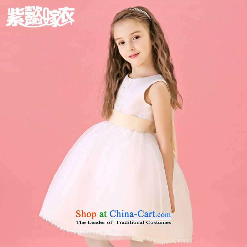 First headquarters wedding dresses Flower Girls dress the spring and summer of the girl child and of children's wear skirts princess children elegant lace sleeveless bon bon skirt to live piano music TZ0208 dress?code (recommendation 10 beige 130-140cm) H