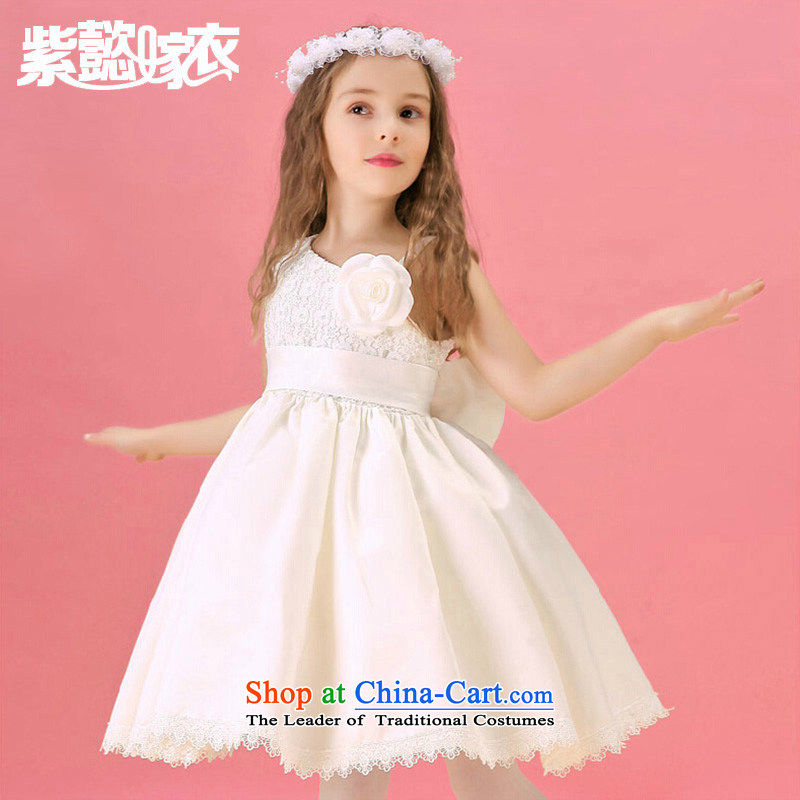 Purple wedding gown headquarters children lace princess skirt spring and summer new women's children's wear stars van sleeveless decals performances dress bon bon skirt TZ0211 White _single_ 12 _recommendation 140-150cm_ Height