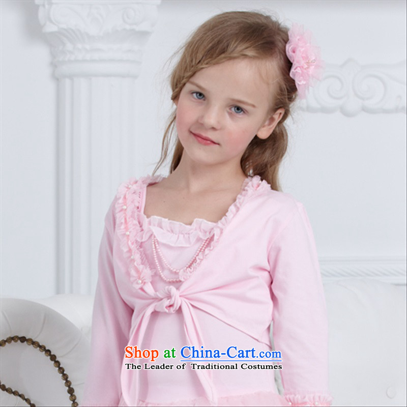 A package accepts the Carnation rain in spring and autumn girls long-sleeved small shawl Kampala shoulder small jacket air-conditioning shirt children shawl lace autumn long service performances of dance shawl promotion pink 120cm