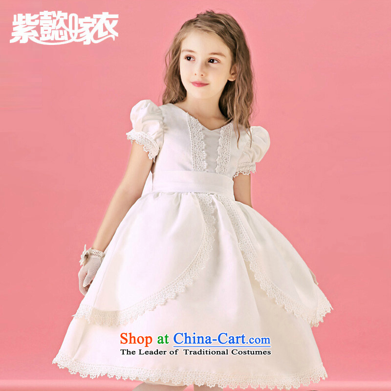Purple wedding gown headquarters children dress girls spring and summer skirts lace lady Mrs flower children's wear skirts princess bon bon skirt to live piano music services TZ0217 (single dress white 14 yards) (recommendation 150-160cm) Height