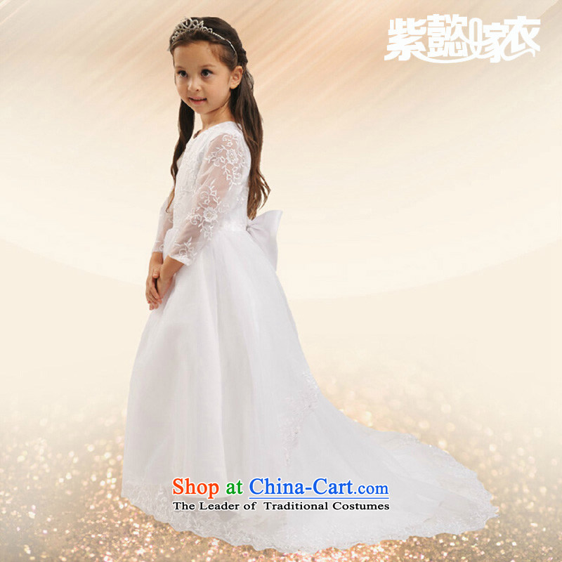 Purple wedding gown headquarters children wedding dress princess girls long tail lace engraving long-sleeved cuhk child long Flower Girls to dress will drag TZ0010 White (single) 14 yards (recommendation 150-160cm) Height
