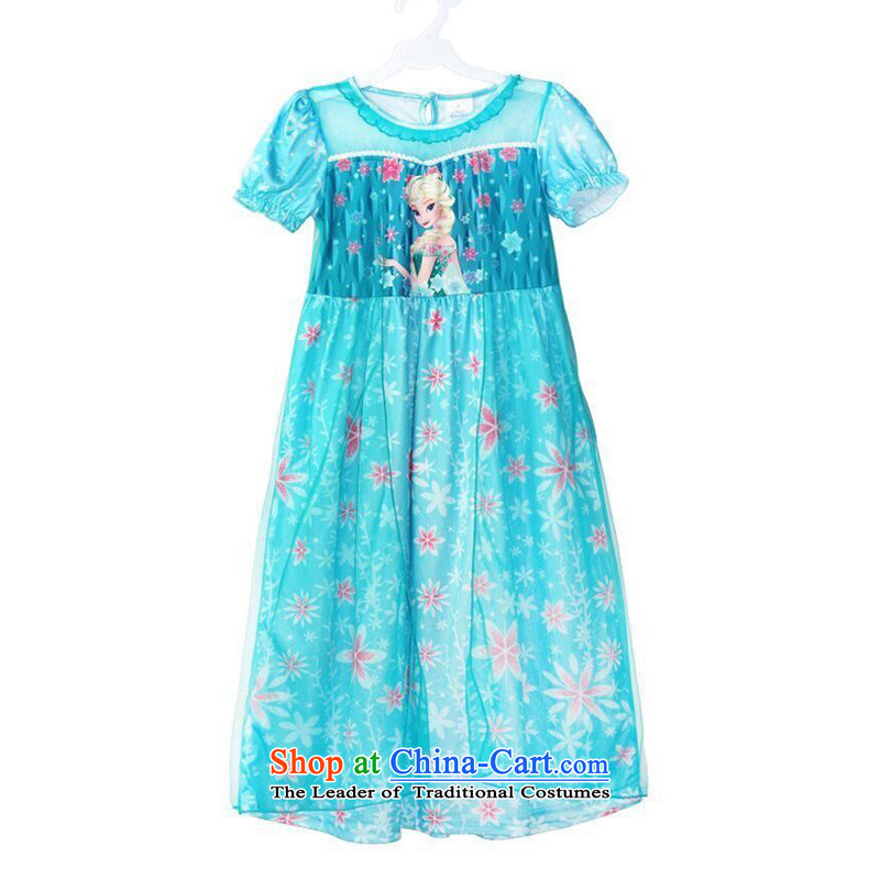 Mrs Ingrid Yeung Mei summer so short-sleeved frozen ice princess Qi Yuan skirt ELSA dress skirt Aicha Princess skirt Queen Korean pink dress + Crown + magic wand + wig 110(S code) Height 90CM-100CM
