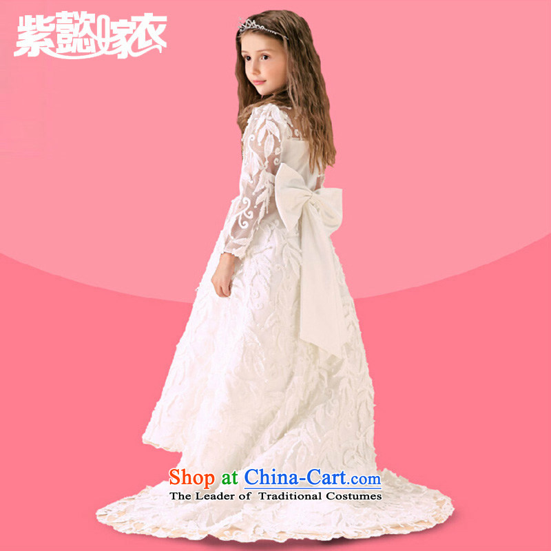 First headquarters wedding gown girls princess skirt the spring and summer of CUHK's rompers long tail lace engraving long-sleeved dragging Flower Girls will dress TZ0219 white 14 yards (recommendation 160-165cm) Height
