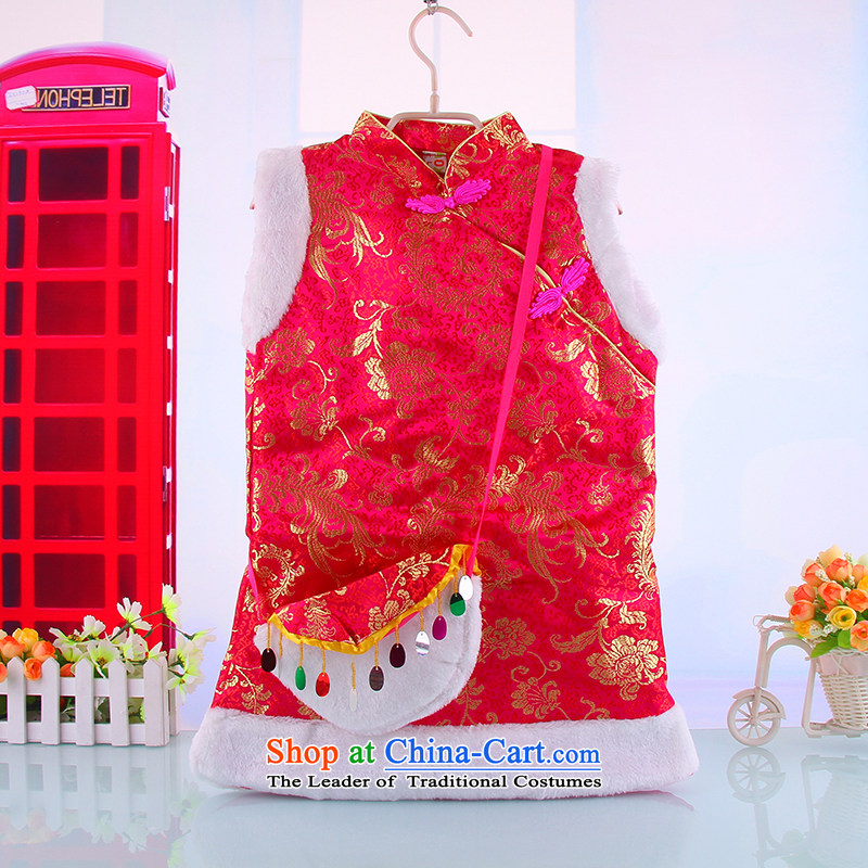 Tang dynasty children qipao girls of autumn and winter warm plus new year with lint-free baby clothes for winter skirt Red110