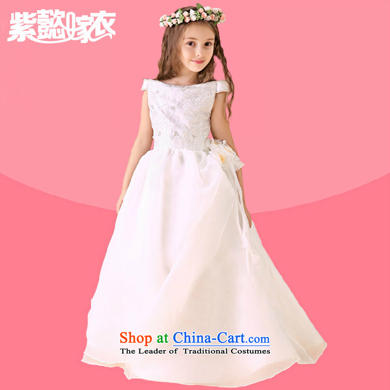 First headquarters wedding dress snow white wedding dress girls spring and summer long, CUHK Children Kung satin lace sleeveless Flower Girls dress up services TZ0023 performances of single piece white skirt14 yards (recommendation 150-160cm) Height