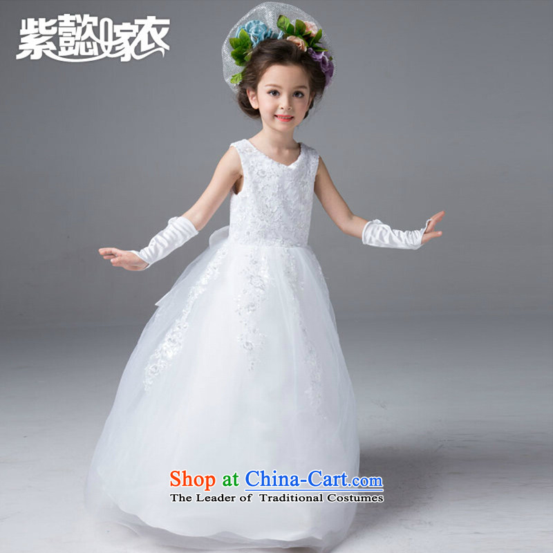 First headquarters wedding dresses girls dresses summer long silk yarn lei sleeveless irrepressible noble Flower Girls dress will children wedding dress TZ0165 Princess White _single_ 10 yards _recommendation 130-140cm_ Height