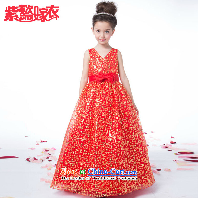 Purple wedding gown headquarters children dress girls spring and summer long red lace sleeveless bow tie cuhk child birth flower of children's wear skirts princess will TZ0205 red 14 yards (recommendation 150-160cm) Height