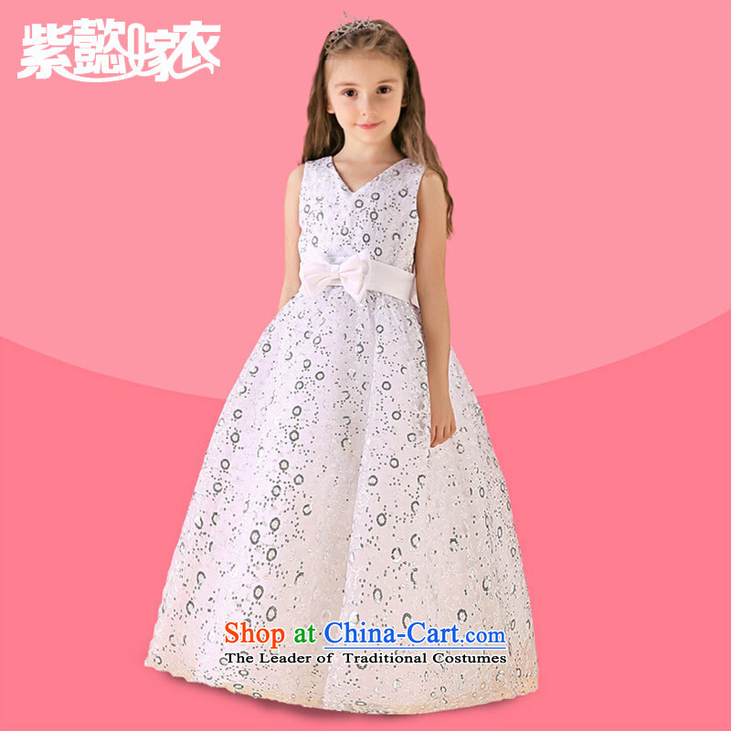 Purple wedding gown headquarters children princess skirt girls summer cuhk child long on-chip lace sleeveless birthday dress clothes show will spend?TZ0205 white white (single) 14 yards (recommendation 150-160cm) Height