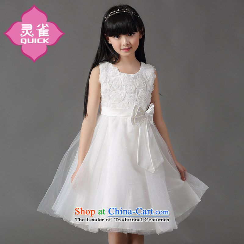 The spirit of the girl child and of children's wear birds Fall/Winter Collections long-sleeved dresses summer New 15 children princess skirts bon bon wedding dress Korea CUHK child skirt sleeveless gown skirt white160 is suitable for a child appears at p