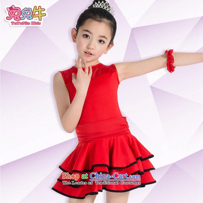 Latin dance serving children Summer Children Latin clothing lace Latin dance services clothing game Latin dance skirt girls Red140