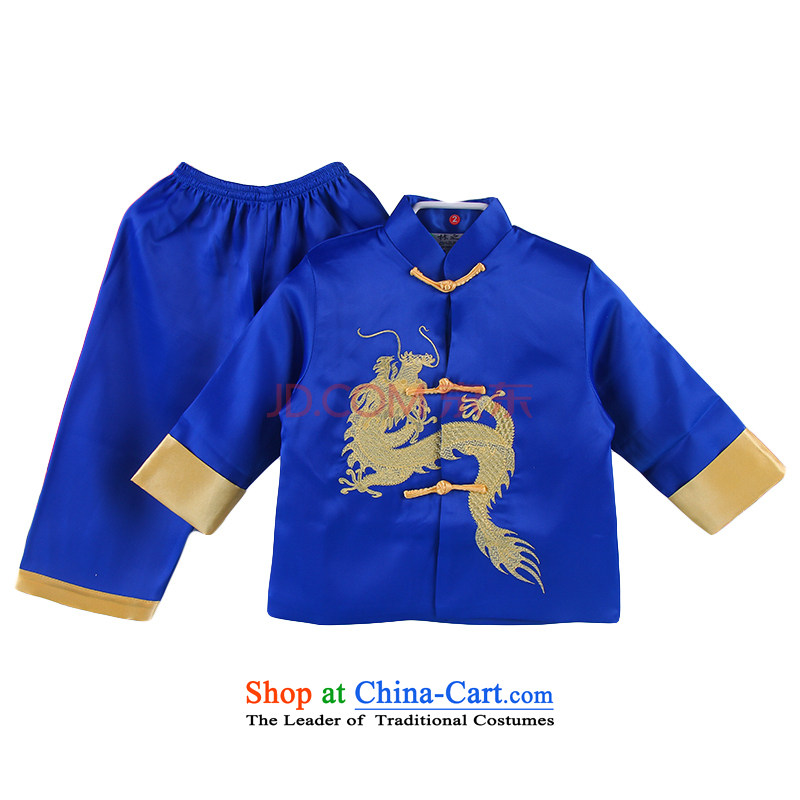 The new baby during the spring and autumn Mr Ronald Tang dynasty long-sleeved long pants boys aged 100 birthday dress photo 4500 Blue 90