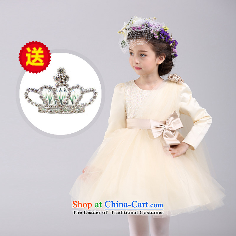 The new 2015 Birds Spirit Fall/Winter Collections children princess skirt long-sleeved girls dresses champagne color dress small girls bon bon dress summer long-sleeved Beveled Shoulder dress champagne color 150 suitable for children Paras. 135-145