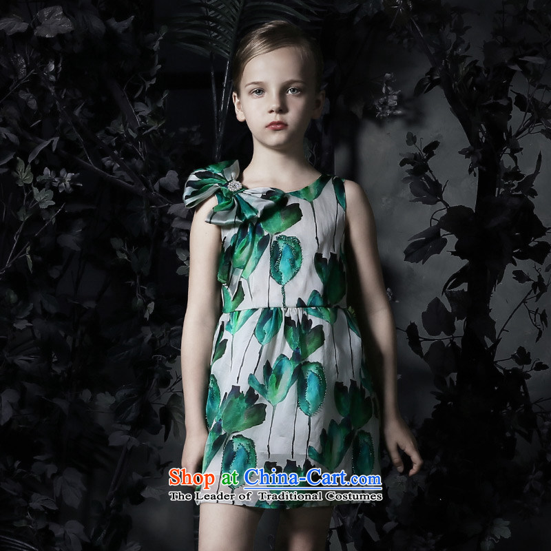 Love Of the聽spring and summer of 2015, Ko Yo New Silk OSCE root yarn stamp girls princess skirt children dress skirt bow tie dresses Flower Girls skirt figure聽160