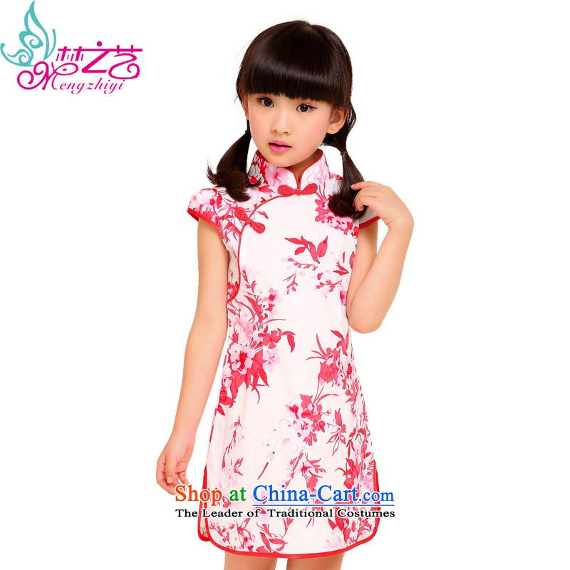 Dream arts children pure cotton qipao saika 2015 new summer female babies cheongsam dress girls summer MZY-0298 cheongsam elegant red porcelain hangtags 100-110cm suitable for 120