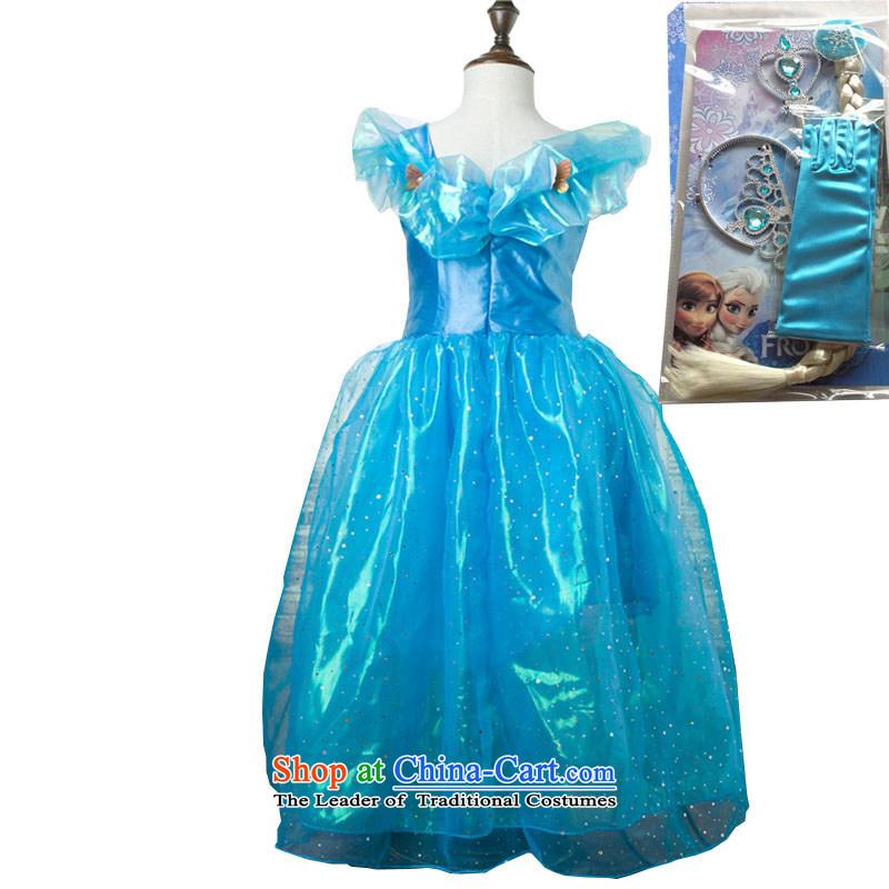 2015 Summer Cinderella dress skirt upscale princess skirt sin Opertti Princess skirt girls dresses Christmas costumes and dress skirt dance skirt blue dress + gloves wigs Four piece set150
