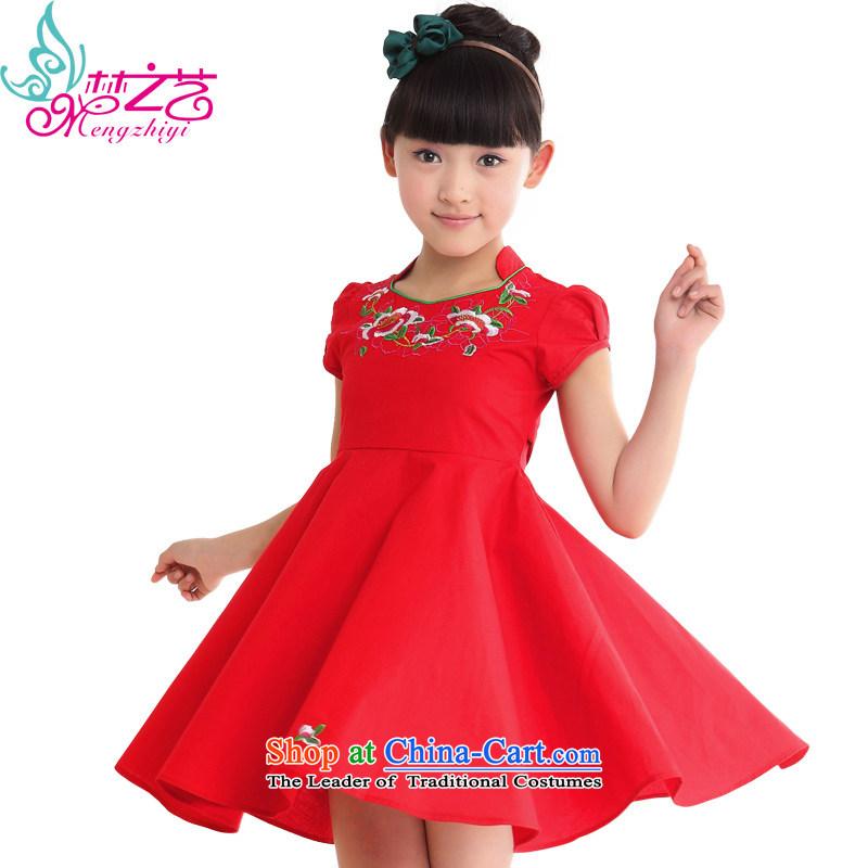 The dream girl children arts cheongsam cheongsam dress 2015 new summer children's wear small girls China wind large girls summer MZY-0309 baby red hangtags 140 recommendations 130 to 140cm tall