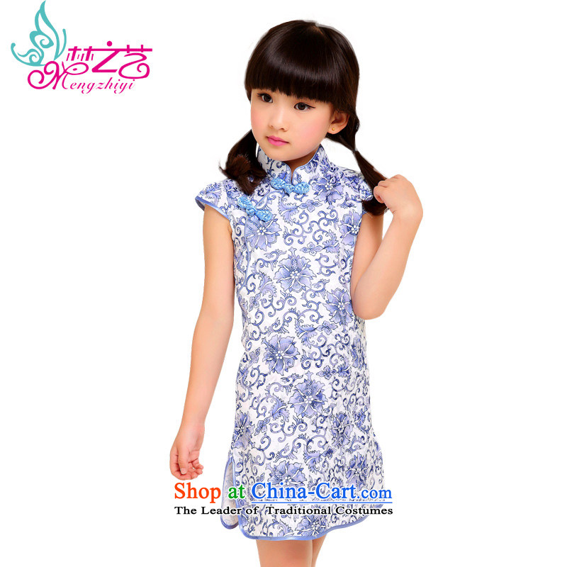 The dream girl children arts cheongsam 2015 new summer cotton linen jacquard floral cheongsam dress girls summer MZY-0312 qipao hangtags 110 100 to 110cm, Height Recommendations