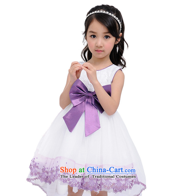 Love Rahman upscale Korean girls princess skirt children wedding dresses tail skirt Flower Girls white piano skirt purple聽160