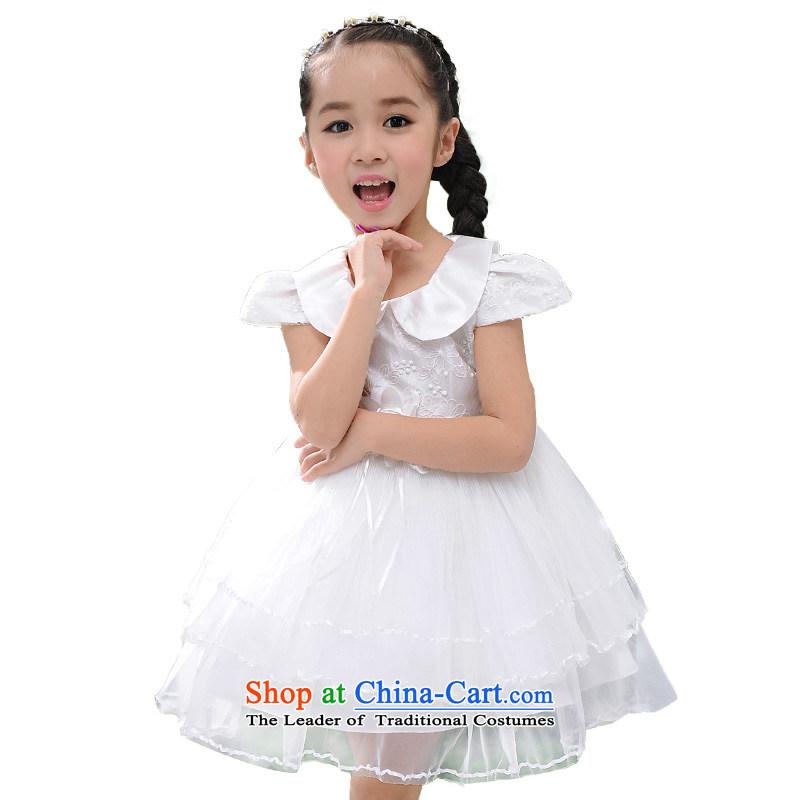 Love Rahman children will dress girls dresses summer dolls collar girls dancing bon bon skirt Dance Show Services White160