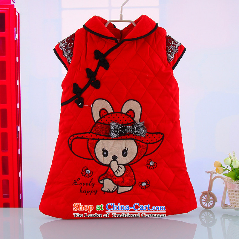 Winter new girls thick warm outdoor Tang dynasty qipao girls New Year pure cotton qipao Red 110