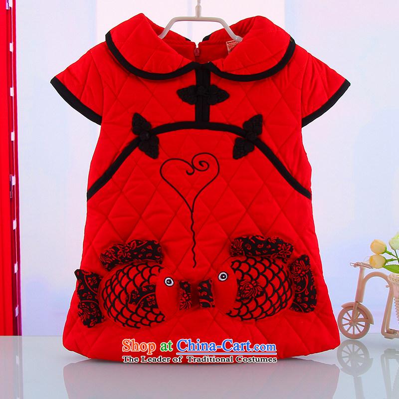 Winter girls Tang Gown cheongsam dress children qipao CUHK child winter Tang dynasty little girl Winter,80 Red Cheongsam