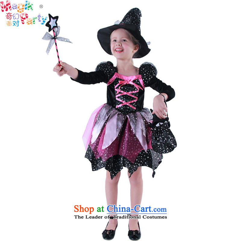 Fantasy to send girls Halloween costume party gathering play fashion school performances skirt witch dresses black cat witch skirt classic black 135cm9-10) code