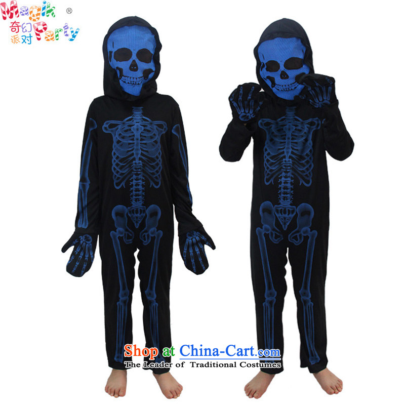 Fantasy factions of boy Halloween costume show Dress Photography schools kindergarten services masquerade X-ray Replace Replace Replace?155cm13-14 skeleton skeleton code