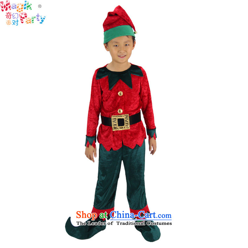 Fantasy to primary schools for boys and girls costumes Christmas clothing Santa Claus Small Green Goblin Goblin red and green Elf services145cm11-12 Service Codes
