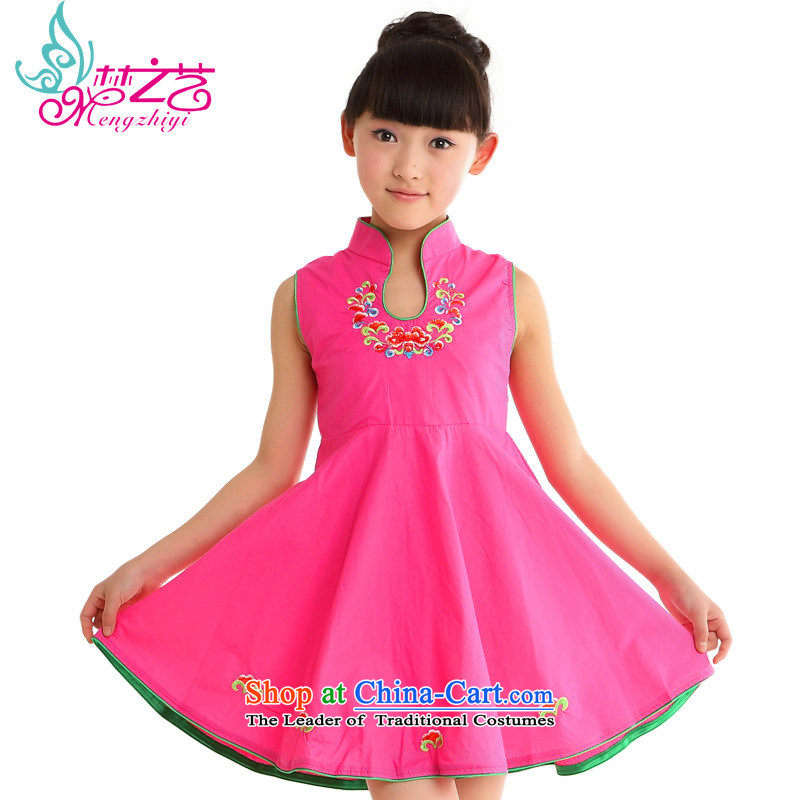 Dream arts children Tang dynasty qipao female summer pure cotton qipao new children's wear skirts 2015 Summer girls MZY-0310 qipao rose hangtags 140 130 to 140cm tall for