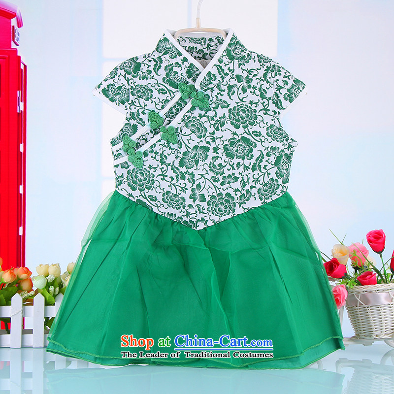 Summer Children qipao girls Tang dynasty princess skirt ethnic pure cotton small girls Da Tong Zheng costumes Green120